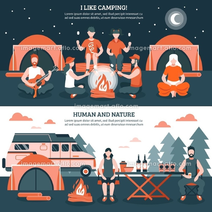 Camping In The Wild Banners. Two horizontal camping and hiking banners with groups of flat faceless people characters tent and bonfire vector illustrationの販売画像