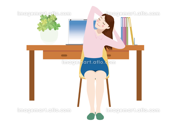 リモートワーク在宅ワークのイメージイラスト デスクPCパソコンとストレッチをする女性サラリーマン人物の販売画像