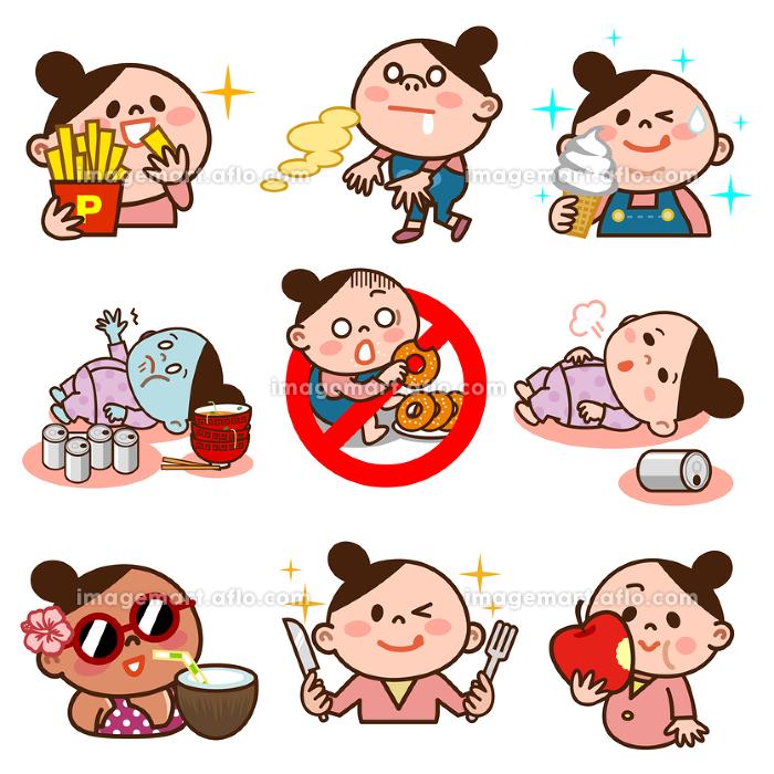 食べ物の誘惑に負けるメタボ女子のセットの販売画像