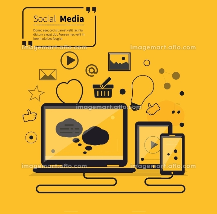 Social networks media online flat style. Communication internet, technology global, website and chat, computer service, society link, smartphone laptop, quotation and inspire and tablet illustration
