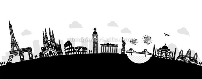 世界の有名な建築物・世界遺産・ランドマーク 横並び風景イラスト (アーチ型)の販売画像