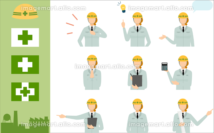 工事現場の監督のポーズセット、シニア女性の販売画像
