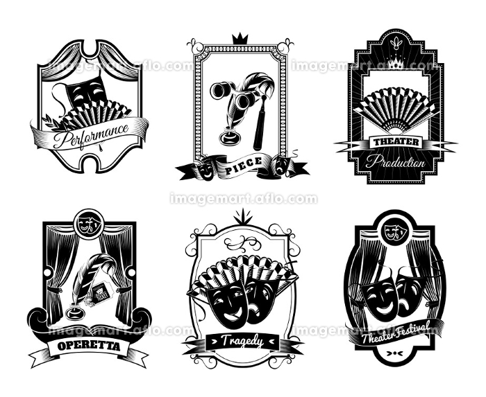 Theatre Black White Emblems Set. Theatre black white emblems set with tragedy and operetta symbols flat isolated vector illustration