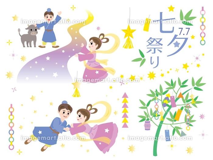 織姫と彦星と七夕祭りのイラストセットの販売画像