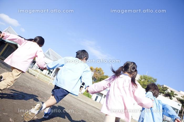 園庭を走る幼稚園児の後姿の販売画像