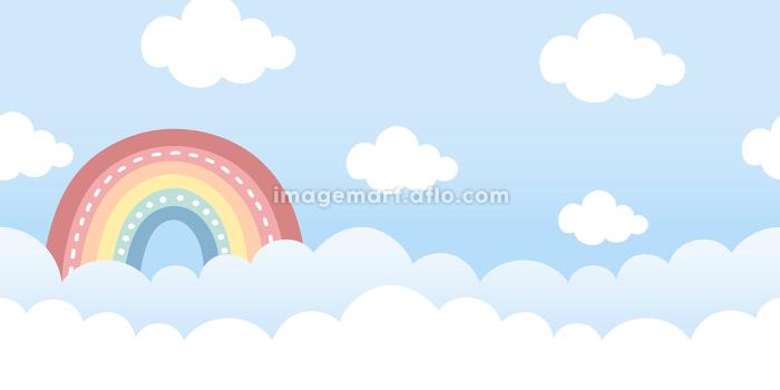 虹と雲、晴れた空のシームレスな背景素材の販売画像
