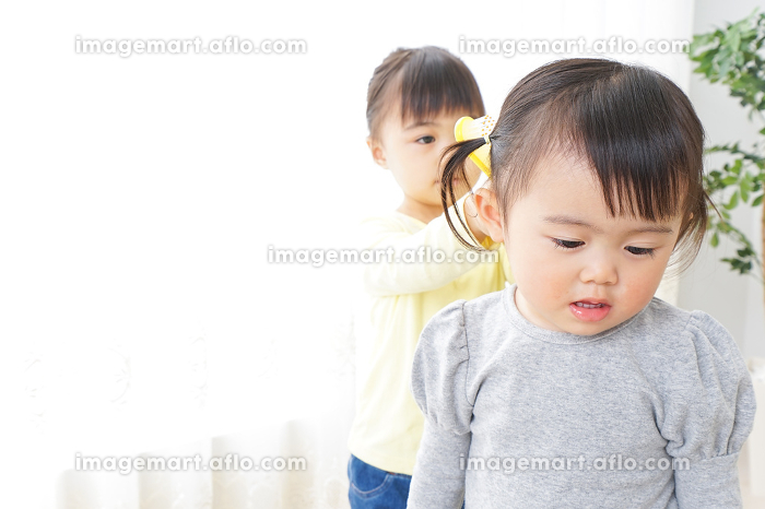 美容師ごっこをする二人の子供の販売画像