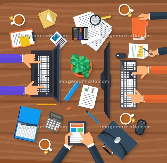 Concept of working process and workplace organization for business team. Top view of desk with businessman hands, laptops, computer, documents and different office objects in flat designの販売画像