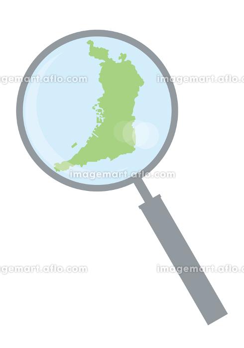 虫眼鏡ルーペ拡大鏡と大阪府の詳細地図近畿地方|都道府県別地図のイラスト ベクターデータの販売画像