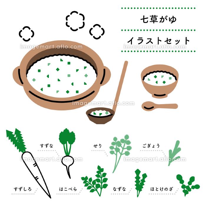 七草がゆ シンプル・ペン画風イラストセット(日本語バージョン)の販売画像
