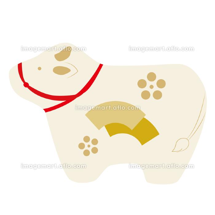 横向きの牛の縁起物のベクターイラスト