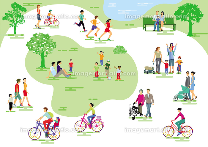 City park with people and families in the leisure, jogging and cycling