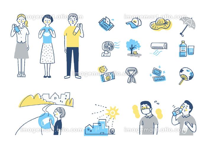 様々な熱中症対策のアイテムと人物 セットの販売画像
