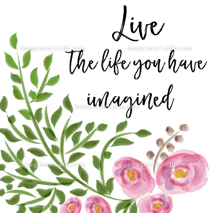 beautiful life quote with floral watercolor backgroundの販売画像