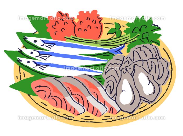 ザルに入った魚介類いろいろの販売画像