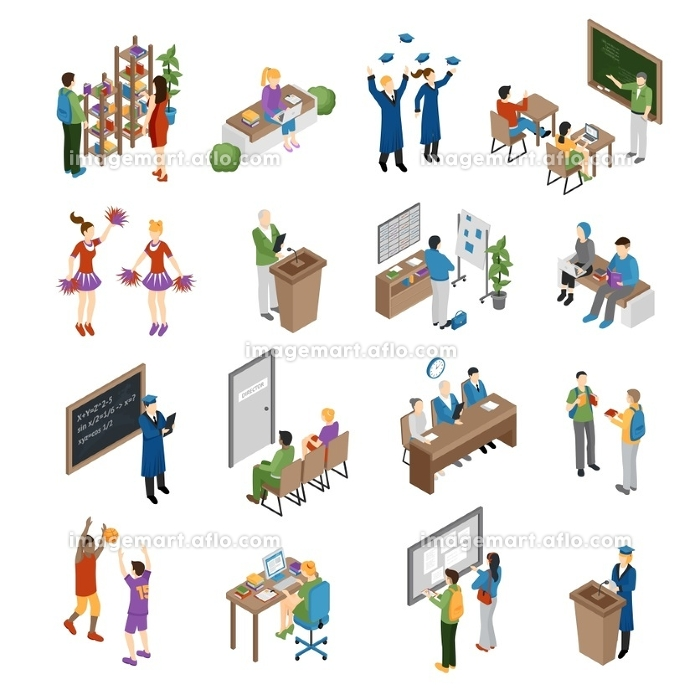 School College University Isometric Set. Pupils students graduates and teachers at school college and university isometric set isolated vector illustration