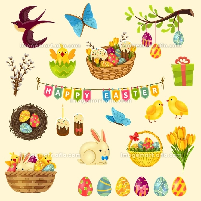 Easter Symbols Set. Easter cartoon symbols set with eggs chicken and cake isolated vector illustration