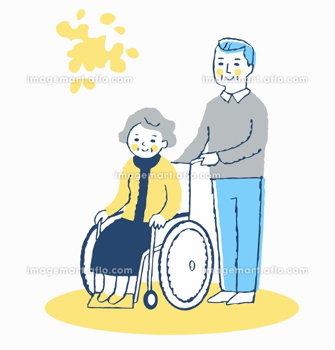 車椅子のシニア女性とシニア男性の販売画像
