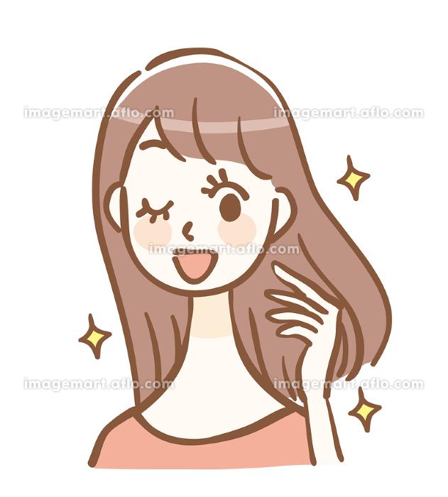 髪が綺麗な女性の販売画像