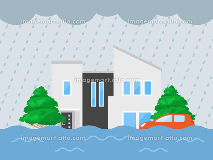大雨で家が浸水するイラストの販売画像