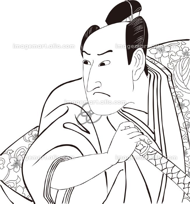 浮世絵 歌舞伎役者 その3 白黒の販売画像