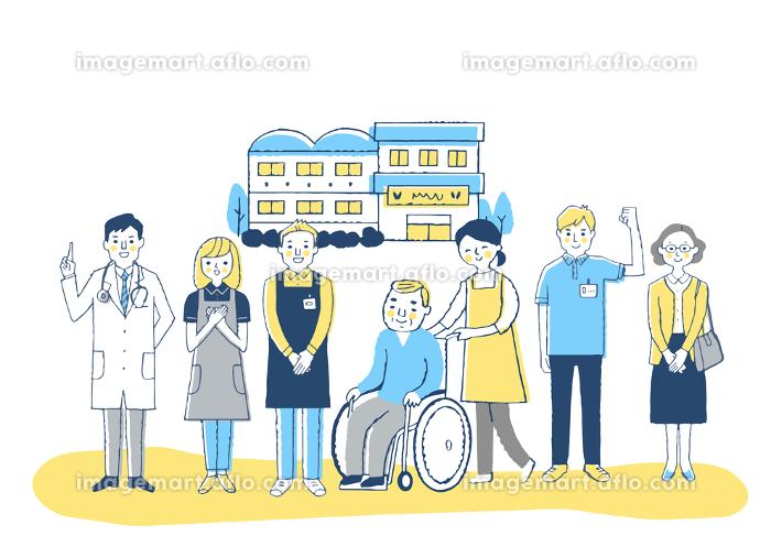 介護施設 車椅子のおじいちゃんと介護スタッフの販売画像