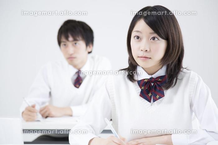 勉強する高校生の販売画像