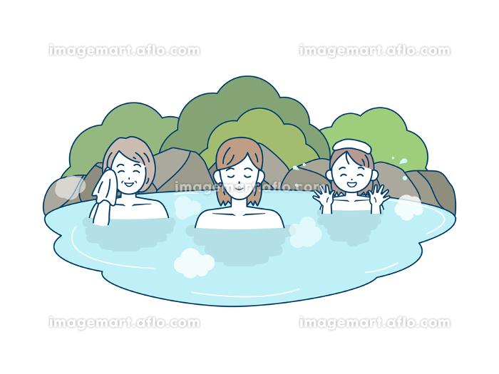 温泉に入る家族のイラスト 女湯の販売画像