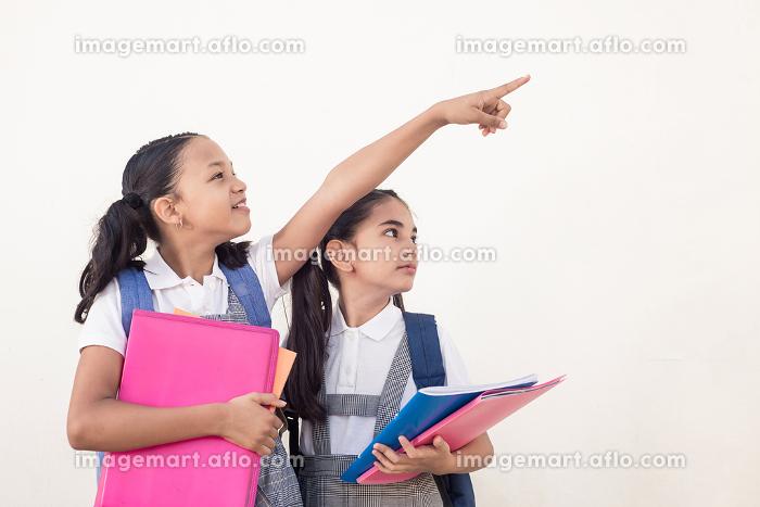 Cute brunette little girl, turn pointing right copyspace, showinの販売画像