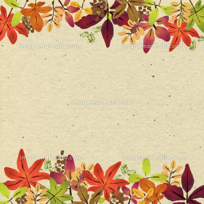 水彩 秋 紅葉 フレーム 背景