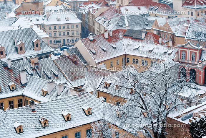 view on the winter garden and roofs of Ledebursky palace, Prague, Czech Republic