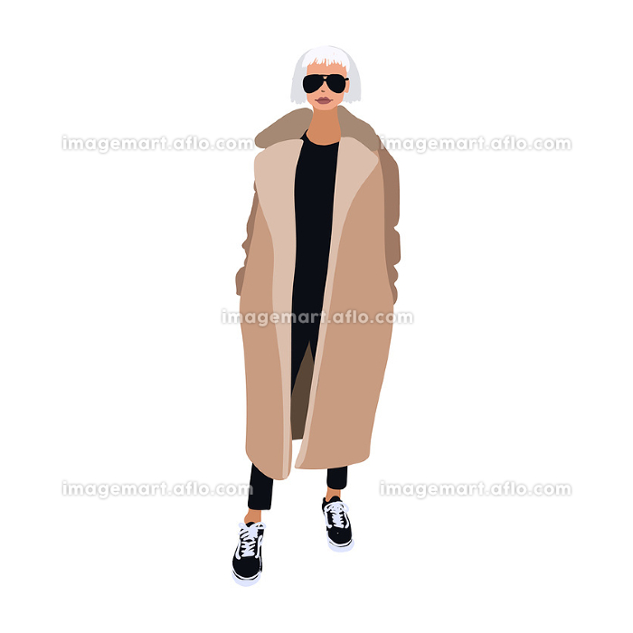 Young women or girls dressed in trendy clothes standing together. Group of friends. Female cartoon characters isolated on white background. Flat colored vector illustration - Vectorの販売画像