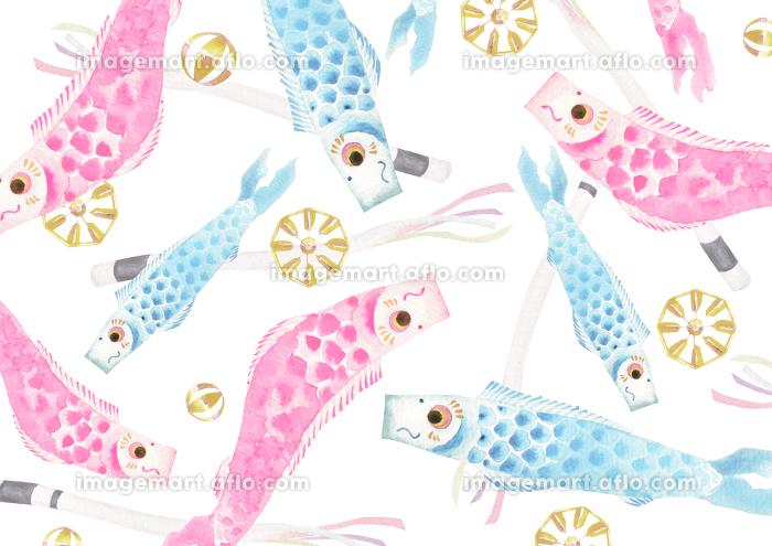 端午の節句 子供の日 こいのぼり 背景 テキスタイル 水彩 イラストの販売画像