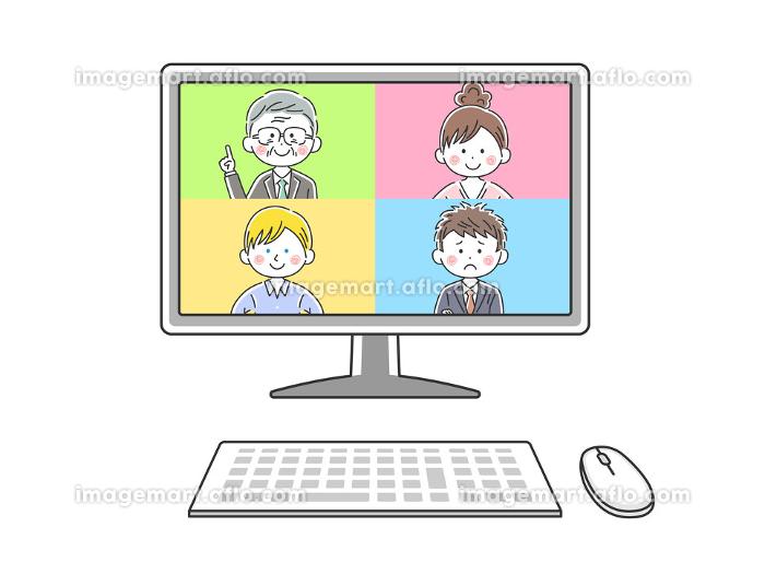 パソコンでオンライン会議をする人のイラストの販売画像