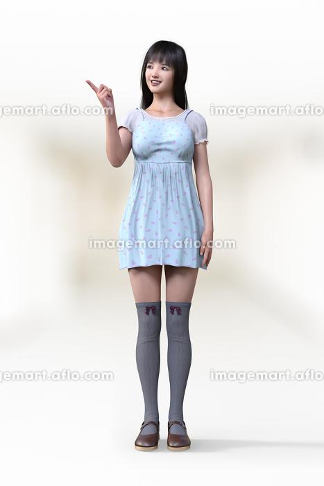 フェミニンなワンピースを着てニーハイを履いた若い女の子が人差し指で左を差しその方向に目線を向けている