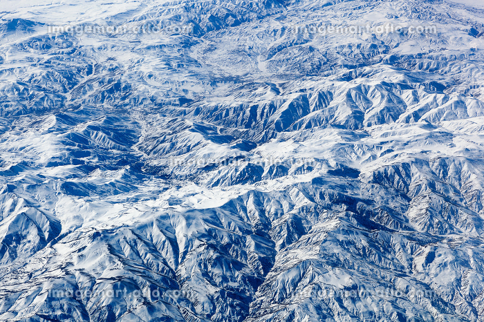 Aerial view on beautiful snowy landscape.
