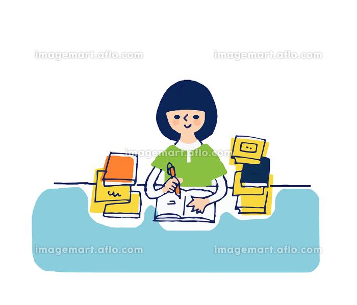 勉強する女の子の販売画像