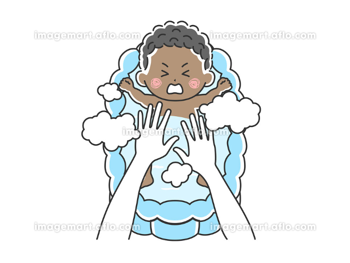 沐浴を嫌がる赤ちゃんのイラストの販売画像