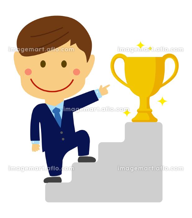 二頭身デフォルメ 人物イラスト / ステップアップ、トロフィー、地位・名誉を得る ビジネスイメージの販売画像