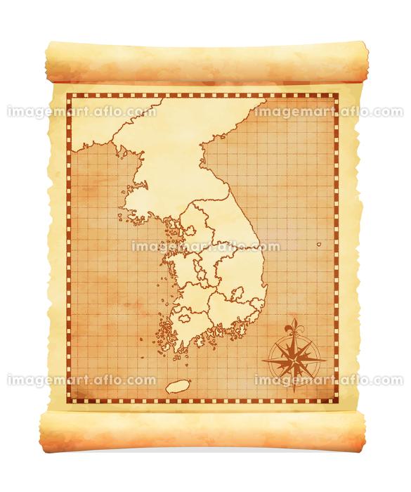 色褪せて丸まった古地図ベクターイラスト / 韓国の販売画像