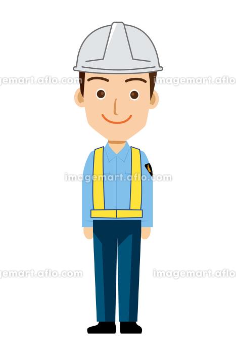 働く人交通誘導員ガードマン警備員のイラスト直立制服笑顔安全反射ベストの販売画像