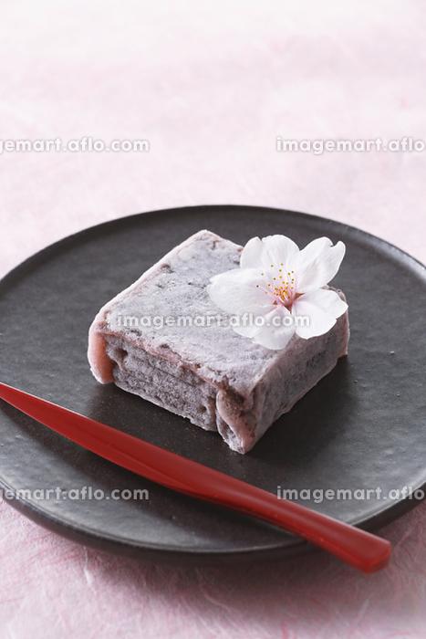 桜と和菓子の販売画像