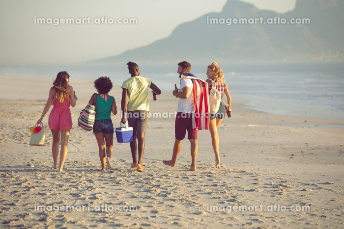 Rear view of group of diverse friends walking together on the beachの販売画像