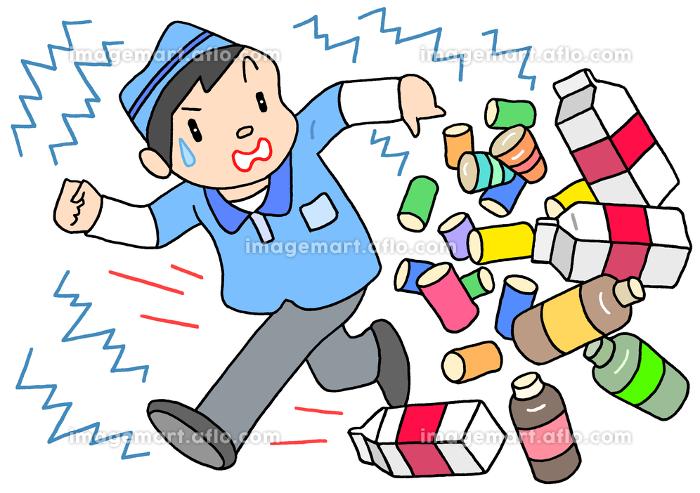 地震による商品の散乱の販売画像