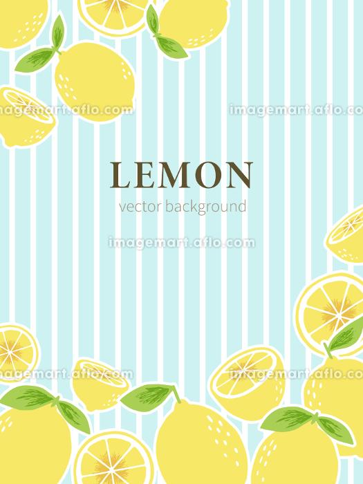 爽やかなブルーのストライプの背景に手書きのレモンを配置した背景素材の販売画像