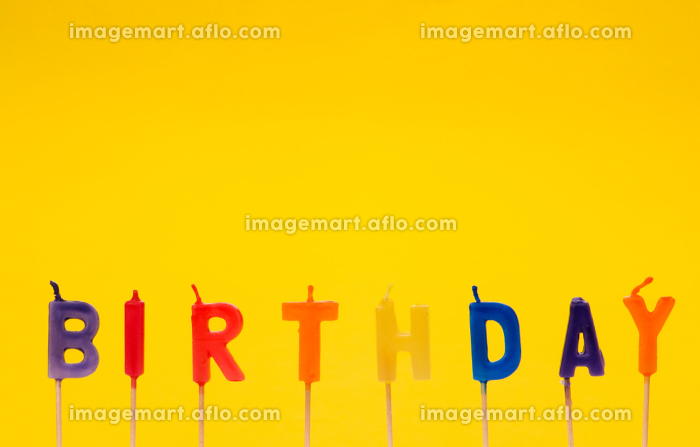 Happy birthday isolated on the yellow backgroundの販売画像