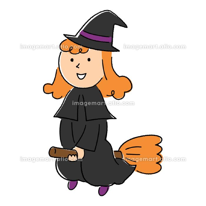 ほうきに乗って飛んでいる魔女/ハロウィン/手描き風の販売画像