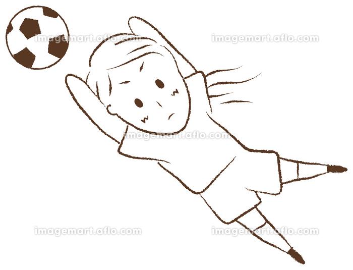 サッカーをする女の子 ゴールキーパーの販売画像