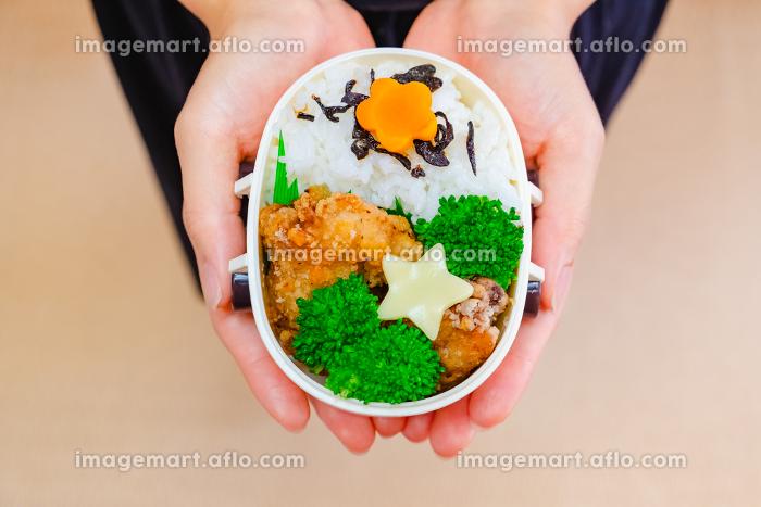 手作りのお弁当を持つ女性の販売画像