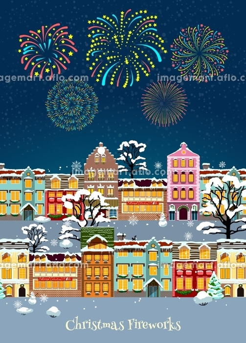 Colorful Christmas Celebration Template. Colorful Christmas celebration template with glowing sparkling fireworks and snowbound cityscape vector illustration